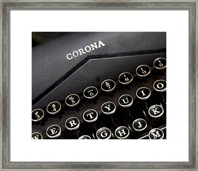 Old Corona Typewriter Print Framed Print by Lisbet Sjoberg