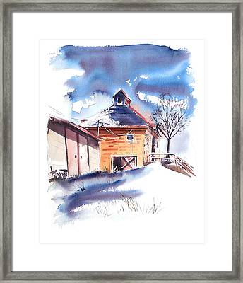 Old Country School Snowdrift Framed Print by Harley Harp