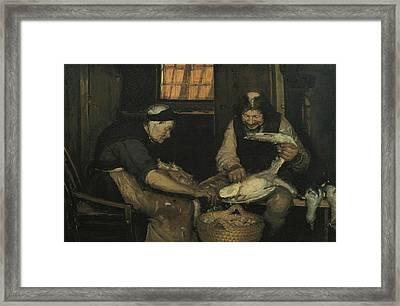 Old Couple Plucking Gulls. Lars Gaihede And Old Lene Framed Print by Anna Ancher