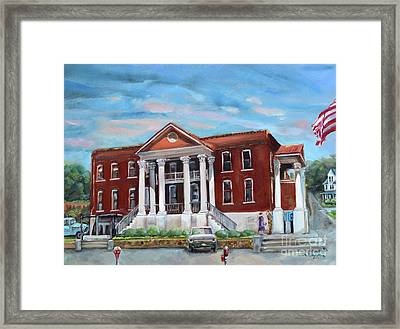 Framed Print featuring the painting Old Courthouse In Ellijay Ga - Gilmer County Courthouse by Jan Dappen