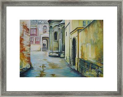 Framed Print featuring the painting Old Courtyard by Elena Oleniuc