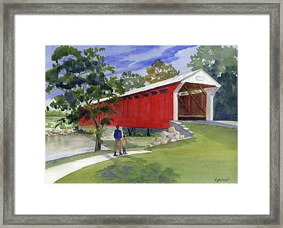 Old Covered Bridge At Eldean Framed Print