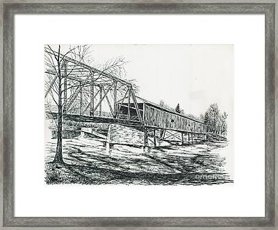 Old Covered Bridge Framed Print by Samuel Showman