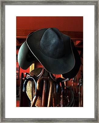 Framed Print featuring the photograph Old Cowboys Never Die by Irma BACKELANT GALLERIES