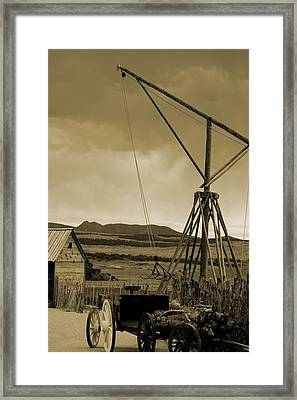Old Crane And Shed Utah Countryside In Sepia Framed Print