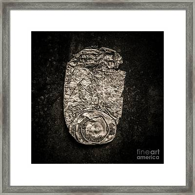 Old Crushed Can. Framed Print by Bernard Jaubert