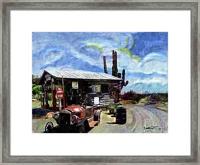 Old Desert Gas Station Framed Print