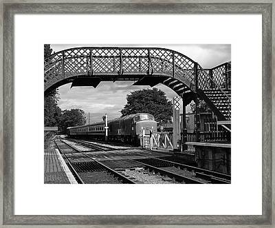 Old Diesel Train In The Sidings In Mono Framed Print by Gill Billington