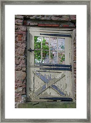 Framed Print featuring the photograph Old Door From Bridgetown Millhouse Bucks County Pa by Bill Cannon
