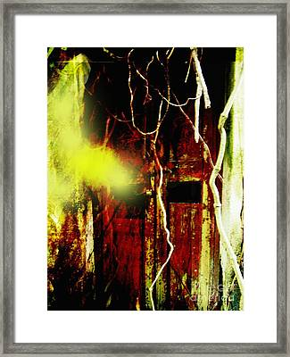 Old Door Ghost Halloween Scary Card Print Framed Print by Kathy Daxon