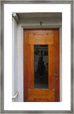 old door in Lisbon with my reflection Framed Print