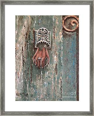 Old Door Knocker Greece  Framed Print by Viktoriya Sirris