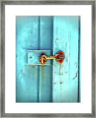 Old Door Latch Framed Print by Tom Gowanlock