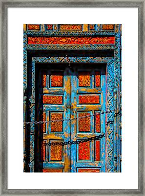 Old Door With Chain Framed Print