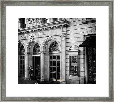 Framed Print featuring the photograph Old Ebbitt Grill In Black And White by Chrystal Mimbs