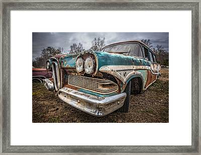 Old Edsel Framed Print by Debra and Dave Vanderlaan