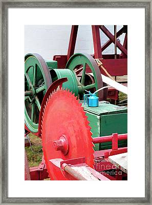 Old Engine And Saw Blade At A County Fair Framed Print by William Kuta