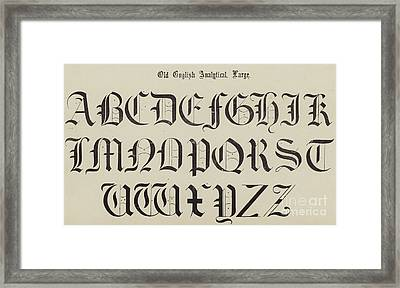 Old English Font Framed Print by English School