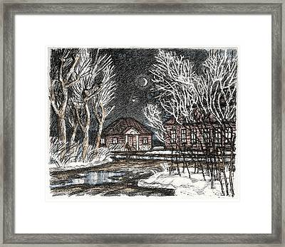 Old Europe In Stone Lithography. Frosty Night In Early Spring. Wooden Barracks On Dirt Road Framed Print