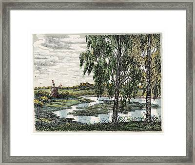 Old Europe In Stone Lithography. Tall Wooden Windmill On River Bank Meadow On A Sunny Summer Day Framed Print