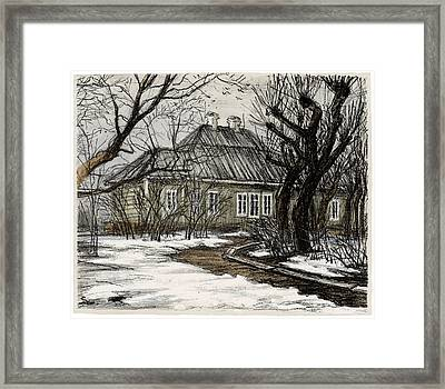 Old Europe In Stone Lithography. Wooden House And Garden With Trimmed Trees In Early Spring Framed Print