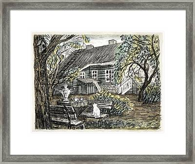 Old Europe In Stone Lithography. Young Green Leaves On Garden Trees, Samovar, White Cat On Bench Framed Print