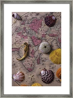 Old Europe Map With Shells Framed Print by Garry Gay