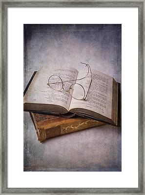 Old Eyeglasses And Books Framed Print