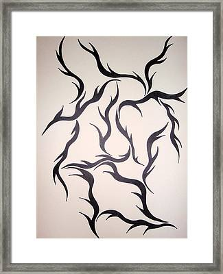 Framed Print featuring the drawing Old Face by Beth Akerman