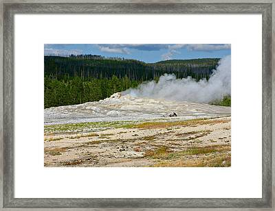 Old Faithful - An American Icon In Yellowstone National Park Wy Framed Print by Christine Till