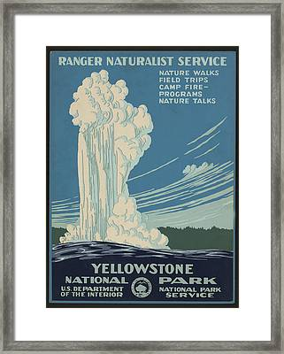Old Faithful At Yellowstone Framed Print by Unknown