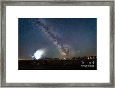 Old Faithful Milky Way Eruption  Framed Print