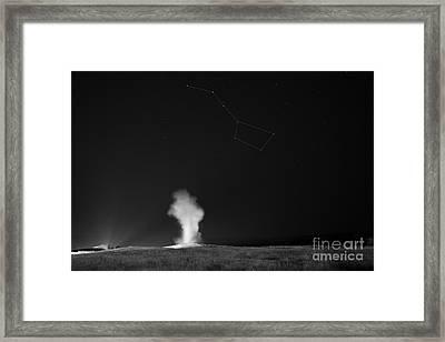 Old Faithful Night Eruption Under The Big Dipper Bw Framed Print
