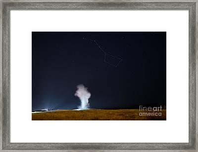 Old Faithful Night Eruption Under The Big Dipper Framed Print