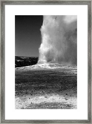 Old Faithfull In Classic Black And White Framed Print by Ernie Ferguson