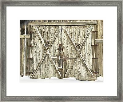Old Farm Doors Framed Print