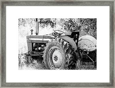 Old Farm Ford Tractor - Bw Framed Print