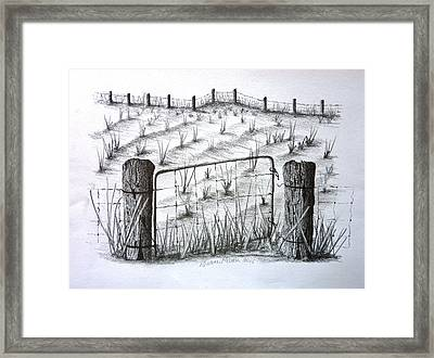 Old Farm Gate And Field Framed Print by Diane Palmer