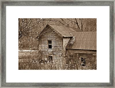 Old Farm House In Sepia 6 Framed Print
