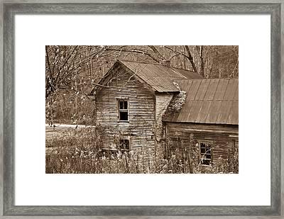 Old Farm House In Sepia 6 Framed Print by Douglas Barnett