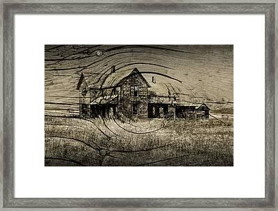Old Farm House With Wood Grain Overlay Framed Print
