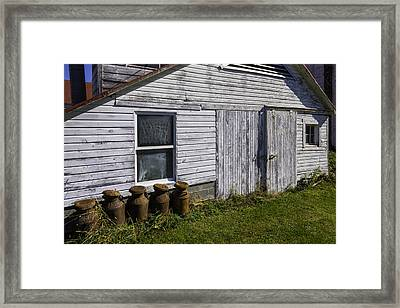 Old Farm Milk Cans Framed Print by Garry Gay