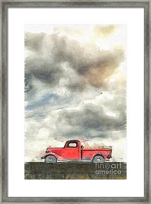 Old Farm Truck Pencil Framed Print by Edward Fielding