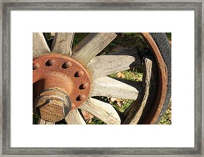 Old Farm Wheel Framed Print by Peter  McIntosh