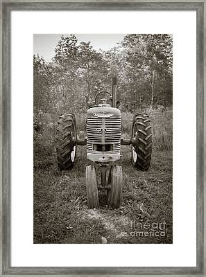 Framed Print featuring the photograph Old Farmall Tractor Springfield New Hampshire Sepia by Edward Fielding