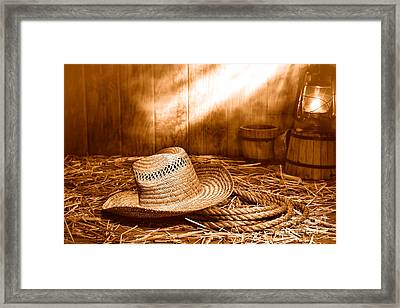 Old Farmer Hat And Rope - Sepia Framed Print by Olivier Le Queinec
