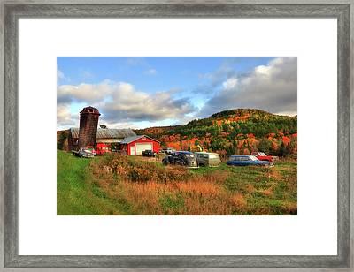 Old Farmhouse, Silo And Old Cars In Autumn Framed Print by Joann Vitali