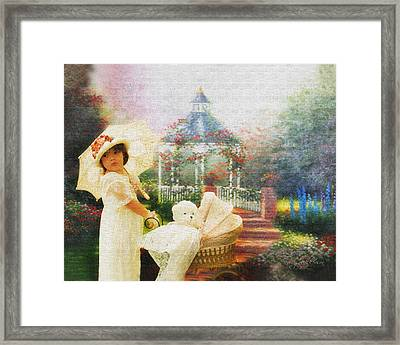 Old Fashion Child Strolling Framed Print by Trudy Wilkerson