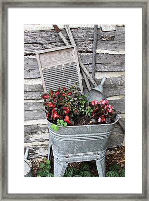 Old Fashion Elements With Flowers Framed Print
