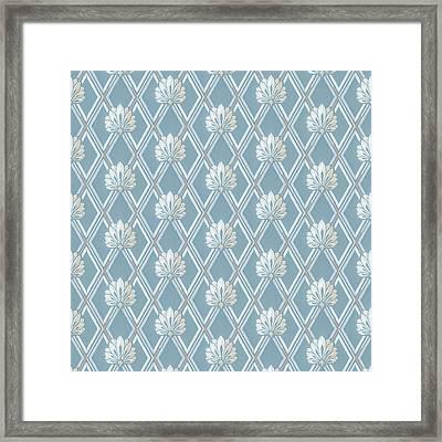 Framed Print featuring the digital art Old Fashioned Blue Lattice Fan Wallpaper Pattern by Tracie Kaska